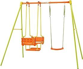 Kettler Schaukel 3 - Gartenschaukel für Kinder - stabile Schaukel Kinder mit insgesamt drei Schaukelsitzen - mit Brettschaukel und Gondel - Qualität MADE IN GERMANY - orange & grün