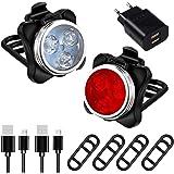 AMANKA Luci per Bicicletta, Set Luce Bici LED Light con 5V/2A Caricabatterie, 400LM, Luci Bici LED di Avvertimento Set Fari P