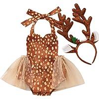Bowanadacles Tutina Neonata Costume per Natale Halloween Cosplay 2 Pezzi Pagliaccetto con tutù Senza Maniche…