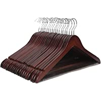 STAR WORK Cherry Wooden Wardrobe Storage Suit Hangers - Premium Wood with Notches & Chrome Swivel Hook for Dress Clothes…