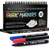 Textilstifte Waschmaschinenfest, APOGO 24 Textilmarker Stoffmalstifte Wasserfeste Stofffarbe, Permanent Marker für Textilien