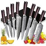 8 PCS Ensemble Couteau de Chef Professional,Couteaux de Cuisine japonais en Acier Inoxydable 5Cr15Mov Carbone, Lame de Coutea