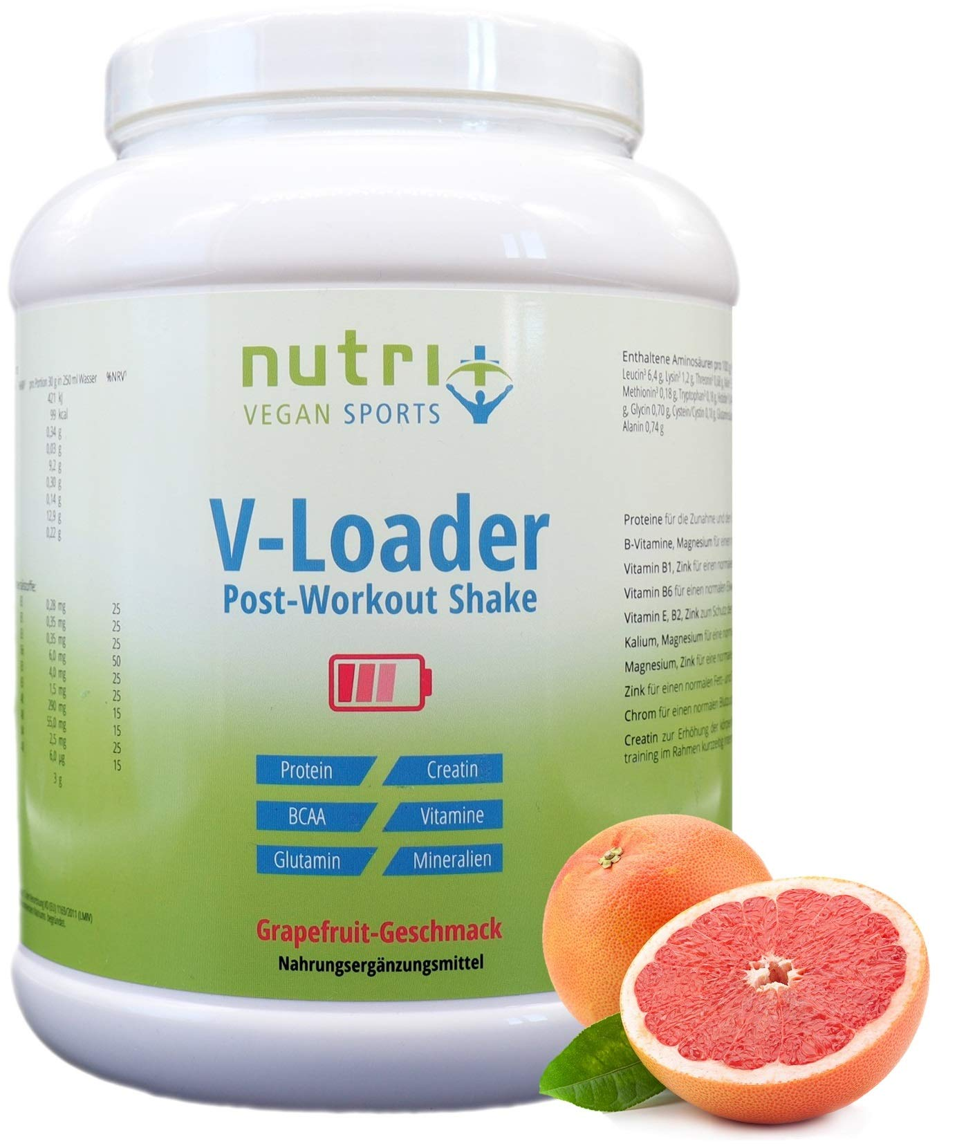 Recovery Drink After Workout Shake – V-Loader Post-Workout Supplement Vegan – 750g Grapefruit Pulver – Maltodextrin – Protein-Pulver – BCAA – Creatin-Monohydrat – L-Glutamin