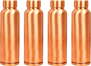 Blubud 100% Pure Copper Water Bottle(1 Ltr) Leak Proof & Joint Free For Ayurveda Health Benefits(Set of 4 pcs)