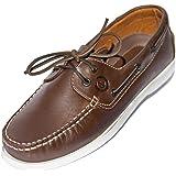 MADSea Hommes All Summer Cuir Chaussures Bateau avec Semelle Blanche