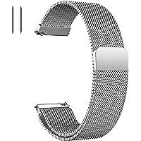 FLZONHUT Bracelet de Montre en Maille d'acier Inoxydablepour Homme Femme,Bracelet de rechange réglable,Magnétique pour…
