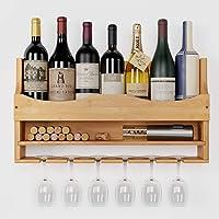 HOMECHO Casier à Bouteilles Mural Casier à Vin en Bambou Porte-Bouteilles pour la Cuisine, Le Restaurant, la Cave à Vin…