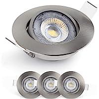 Emos Exclusive Spot LED Encastrable 3000K - Lampe Plafond Orientable 50° pour ampoules LED 3 Spots LEDs Ronds 5 W/450…