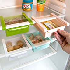 Pack of 3 Deluxe Fridge Storage Sliding Drawer Freezer Storage Shelf Multipurpose Refrigerator Organizer Space Saver(Assorted Colour, 3 Piece)