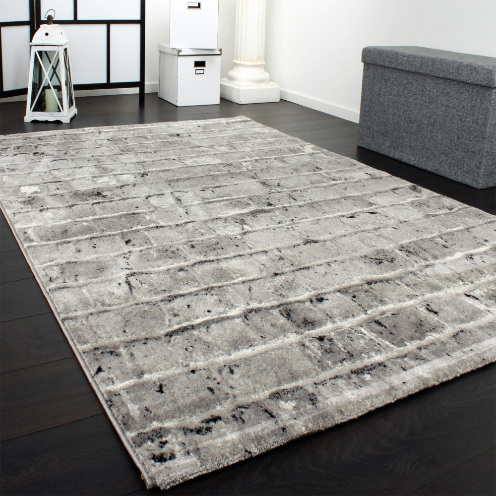 Edler Designer Teppich Mit Steinwand Optik In Grau Schwarz Meliert Grsse160x230 Cm Amazonde Kche Haushalt