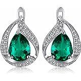 JewelryPalace Pera 3.7ct Sintetico Verde Nano Russo Smeraldo Clip On Orecchini Solido 925 Argento Sterling
