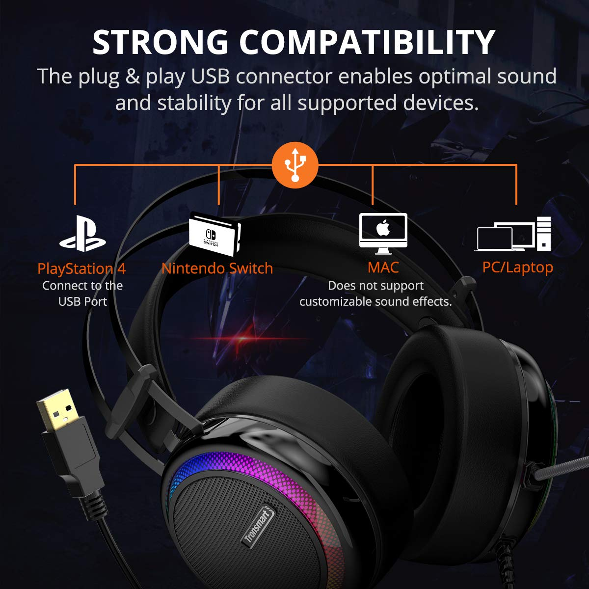 Gaming Headset for Pc , Upgraded Tronsmart Glary Virtual 7 1 Surround Sound  Overear Headphone with Mic LED Noise Cancelling Volume Control for