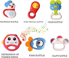 Baybee Mini Bell Rattles Baby Fish, Crab and Happy Rattle, Medium - Pack of 6