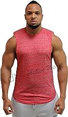 "dk Active Wear Mens Sleeveless Gym Top, Striger Vest, Gym Vest - Crimson Slub Color - Large (Chest 40"" - 42"")"
