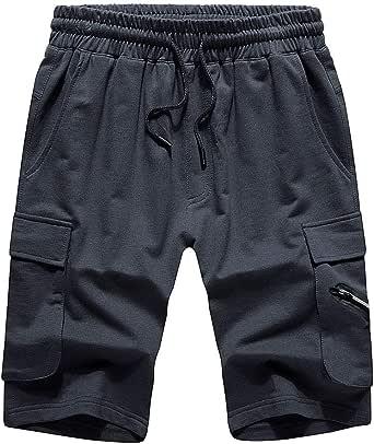 LBL Men's Casual Shorts Gym Summer Sports Jogger Cargo Shorts Elastic Waist Pockets Short Pants (Gray-S)