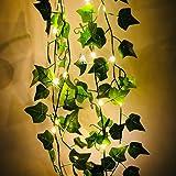 Fangteke Kunstmatige Klimop Garland, Kunstplanten LED String Licht Groen Blad Wijnstok Batterij Operated Fairy String Lights