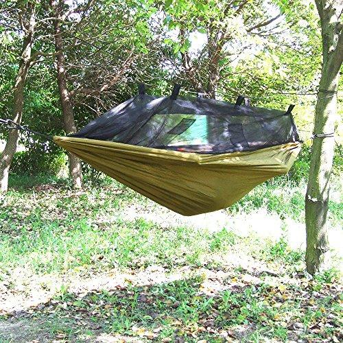 OneTigris Camping Hängematte mit Moskitonetz (inkl. Karabiner und Seile) Belastbarkeit 200kg - 8