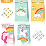 Jolintek 24 Pezzi Sacchetti Regalo di Carta, Unicorno Sacchetto di Caramelle con Adesivi, Sacchettini Carta Kraft per Caramel
