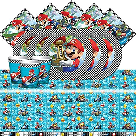 Super Mario Kart Party Children's Birthday Tableware Pack For 8 People