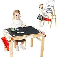 TOP BRIGHT Chevalet d'art en Bois pour Enfant Table d'Art avec Stockage, Bureau de Chevalet Rréglable pour Garçon et…