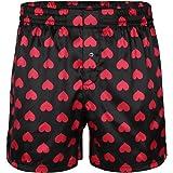 Alvivi Men's Silk Love Heart Print Boxer Shorts Loose Sports Lounge Short Pants Underwear