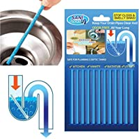 12Pcs Drain Cleaner Sticks Odor Cleaning Tool Pipes Deodorizer for Kitchen Sink Bathroom Toilet Sewer, Keeps Drains…