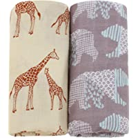LifeTree Mussole Coperta per Neonato - 2 Pack Giraffa & Orso 120 x 120cm Cotone Bambù Coperta Mussola per Bambino