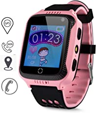 GPS Tracker Kids, GPS-Telefon Uhr Ohne Abhörfunktion, für Kinder, SOS Notruf+Telefonfunktion, Live GPS+lbs Positionierung, Funktioniert weltweit, Anleitung + App + Support auf Deutsch (Pink)