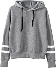 Saingace Women Girls Long Stripe Sleeve Hoodies Sweatshirt Jumper Hooded Pullover Tops Blouse