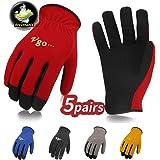 Vgo Glove Guanti, 5 paia, guanti da lavoro in pelle sintetica, guanti da giardinaggio, guanti multifunzionale per lavoro (9/L, Nero & Blu & Giallo & Rosso & Grigio, AL8736)