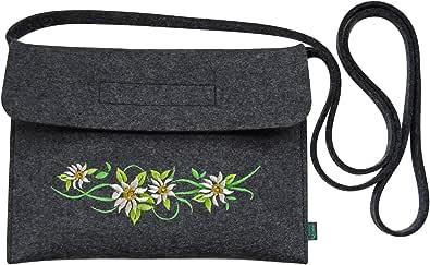Krings fashion® Filztasche Tracht/Dirndltasche/Trachtentasche mit Stickerei Edelweißranke, made in germany