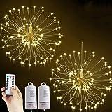 Lichterkette Feuerwerk, 2 x 120 LED Lichterketten Warmweiß Batteriebetrieben Fernbedienung DIY Feuerwerk Licht Kupferdraht Wa