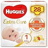 Huggies Extra Care Bebè Pannolini, Taglia 1 (2-5 kg), Confezione da 28 Pannolini
