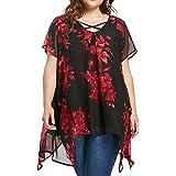 FAMILIZO Camisetas Mujer Verano Tallas Grandes XL~5XL Blusa Mujer Elegante Camisetas Mujer Manga Corta Gasa Camisetas Mujer F