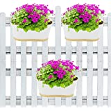 ecofynd® 12 inches Oval Balcony Railing Planter with Detachable Handle, Color - White, Set of 3