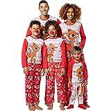 Pigiami Famiglia Coordinati Manica Lunga Stampa Renne Fiocco di Neve Natale Pigiama Due Pezzi Top e Pantaloni Biancheria Cami