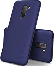 Lokezeep Ultra-Thin Screen And Camara Protection Flexible Soft Anti Slip TPU Case Shockproof Protection Case Back Cover For Poco F1 2018 (Blue)