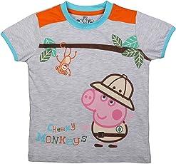 Peppa Pig Cheeky Monkey Light Grey T-Shirt for Boys