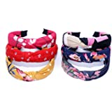 De-Ultimate (Set of 6 Pcs) Multicolor Solid Fabric Pattern Korean Style Fabric Knotted with Tape Plastic Hair Band/head Band