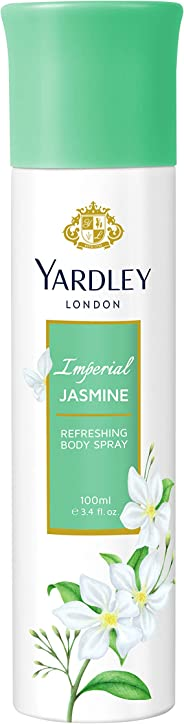 Yardley Imperial Jasmine Body Spray for women, Floral scent with Jasmine and orange blossom fragrance, 100 ml