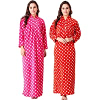 CIERGE Women's Full Length Star Pattern Woollen Nighty (Red and Pink; Free Size)
