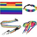TRIXES 4PC Accesorios Arcoíris para el Día del Orgullo Gay Conjunto Multicolor de Capa Tamaño para Adultos, Bandera Cordón Si