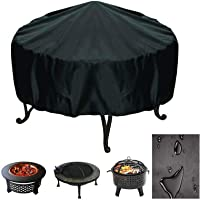 FLYHOME Fire Pit Cover Round Waterproof Windproof Garden Patio Fire Pit Bowl Cover with Drawstring, Firepit Cover Suitable for Outdoor BBQ Oven Fire Stove (76 x 30cm)