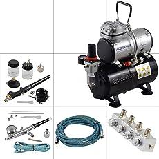 Agora-Tec® Airbrush Komplett-Set PROFI XIII.1, inkl. 4 Bar Kompressor , 21,6l/min und 3 Liter Tank + 2 Airbrushpistolen mit 0,2 & 0,3 & 0,5 & 0,8mm Nadeln/Düsen + regelbaren 4-fach Luftdruckverteiler + 2 Schläuche + Adapter