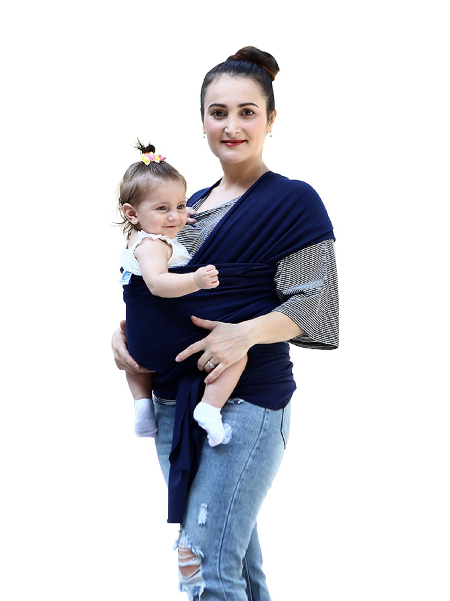 "Baby Wrap Carrier for Newborns, Infants & Toddlers Premium Soft Cotton Baby Sling Carrier for babies up to 44lbs/20kg, Safety Comfortable Functional Navy Blue DEBAIJIA One Size Fits All - Size is 510*53cm(200*21inch), suitable from new born to 20kg/44lbs. Perfect for newborns, infants and toddlers. Easy to Ware - Our wrap is easy and comfortable to wear and comes with a ""How to Use"" instruction booklet. Hands Free - Do housework, breast feeding, grab a coffee, shopping while keeping baby safe and close. 1"