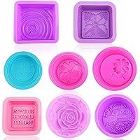Moule en silicone 8 empreintes pour savon et pâtisserie, moules de cuisine, forme de savon estampillés pour gâteaux…