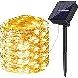 Guirnalda Luces Exterior Solar,DeepDream 200LED 20m 8 Modos Cadena de Luces de Alambre de Cobre,Guirnaldas luminosas Solar Im