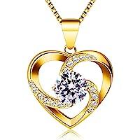 B.Catcher Kette Herz Damen Halskette 925 Sterling Silber Anhänger ''Liebe ist das Glück'' Schmuck Zirkonia 45CM…