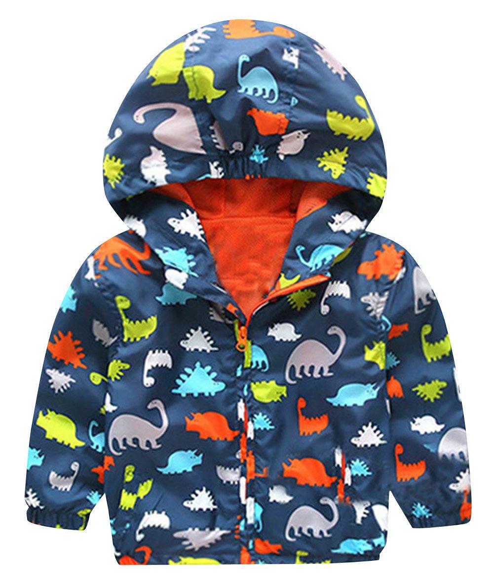 HARVEY JIA - Chaqueta Corto de Bebés Niños con Capucha Mentener Calor Abrigo de Niñas con Estampado Dinosaurio de Otoño… 1