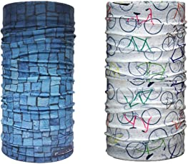 Noise NOIHWPEXCMB012 Sturdy Stack and Playful Cycles Exquisite Polyester Bandanas, Free Size Pack of 2 (Multicolour)